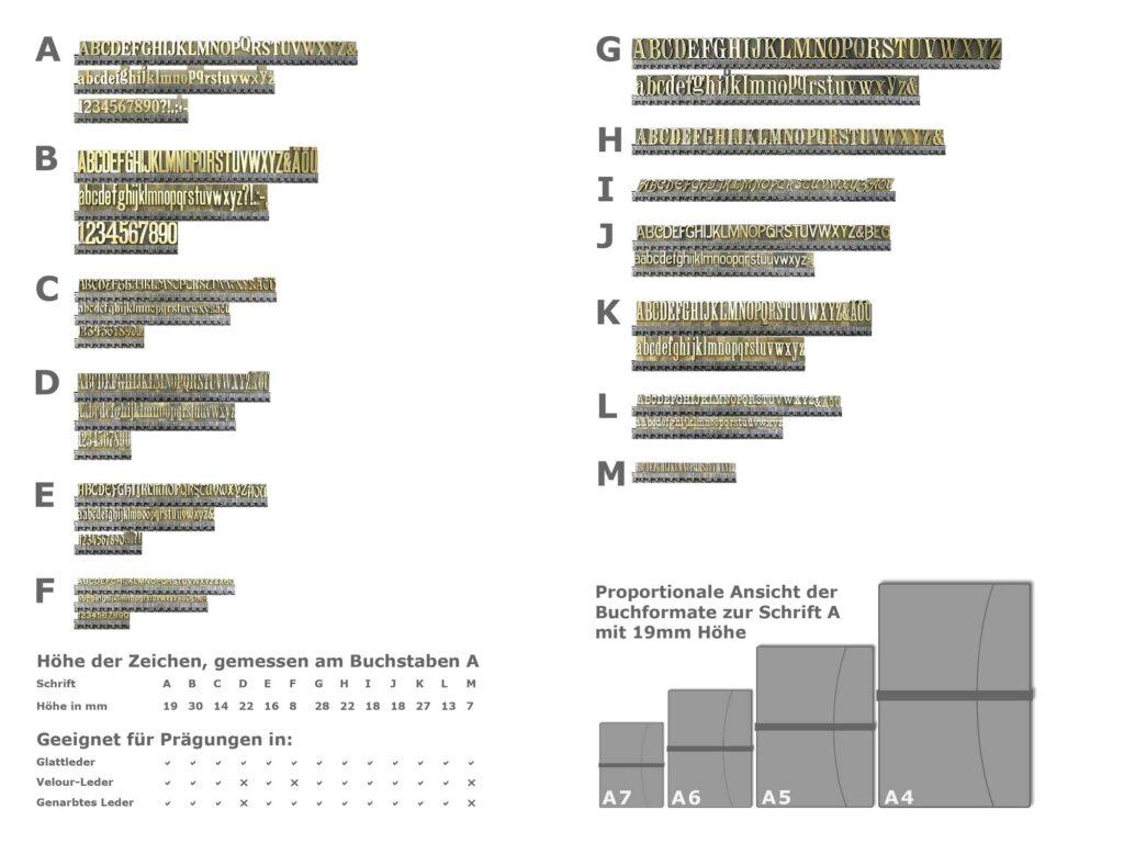 Unsere Schriftarten für eine Text-Prägung in Leder.