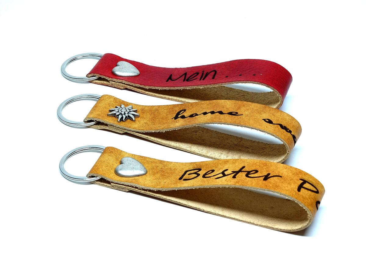 Leder Schlüsselanhänger - Lanyards mit personalisierter Laser Gravur.
